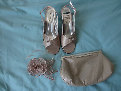 Ladies Clutch Bag Fascinator And Shoes 6  Wedding/event