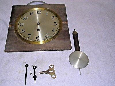 CLOCK  PARTS,MOVEMENt,, HANDS,PENDULUM ,KEY,SINGLE TRAIN