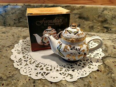 Vintage Formalities By Baum Bros. Blue Butterfly Collection Trinket Teapot