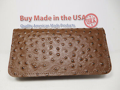 Bay State Exclusive Brown Ostrich Pattern Cowhide Leather C. Book Cover-USA Made