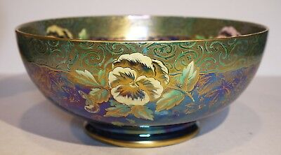 Maling Pansy Gilt & lustred Chelsea bowl - 1930's - Large size