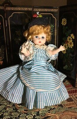 Vintage Madame Alexander SOUTHERN BELLE 1956 BKW White and Blue Stripe gown