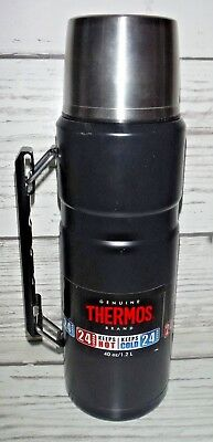 40 oz Thermos Stainless King Insulated Vacuum Bottle 24 Hr Hot Cold Black