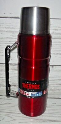 40 oz Thermos Stainless King Insulated Vacuum Bottle 24 Hr Hot Cold Cranberry