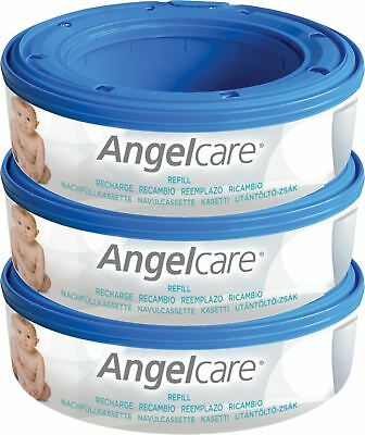 Angelcare NAPPY/DIAPER DISPOSAL SYSTEM 3 REFILL CASSETTES Baby Changing BNIB