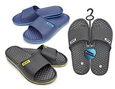MEN'S SPORT SLIDE SANDALS WITH MASSAGE FOOTBED > (Lot of 36 Pairs)
