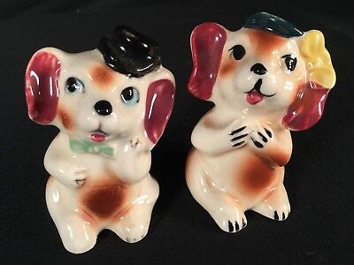 Vtg Anthropomorphic Dogs Japan He & She Ceramic Mid Century Salt Pepper Shaker