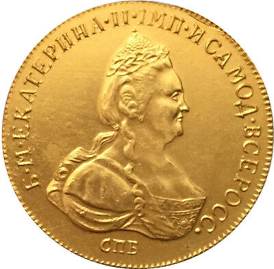 24-K Gold plated 1780 Russia 10 Rubles gold Coin Souvenir