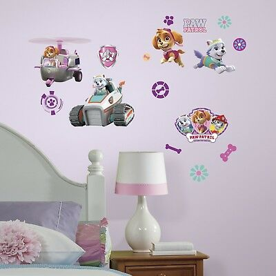 Paw Patrol Wall Decals Stickers Decor Kids Toddler Room Girl Dogs Peel Stick New