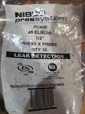 7 Bags Of 10 Nibco Pc606 Press 45 Degree Street Elbow 1/2 In Leak Detection