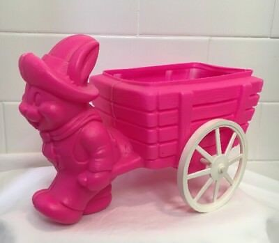 Old VINTAGE Antique PINK Blow Mold Easter Rabbit Candy Container Wagon 1960s