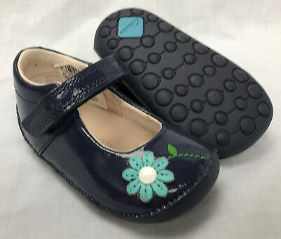 BNIB Clarks Girl Little Jam Navy Patent Leather Cruising First Shoes E/F/G/H