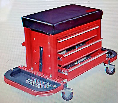 Mechanics Rolling Shop Garage Car Work Tool Chest Box Seat Creeper Red Black New