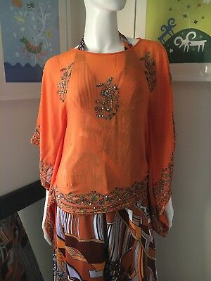 Vintage Top Summer Sequins Sparkle Indian Orange Beach Kaftan