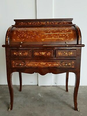 French Louis Xv Roll Top Desk Bureau Writing Table Inlay Furniture Inlaid Unit