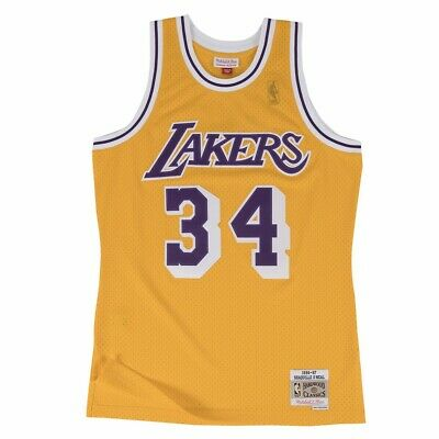d3982842 Shaquille O'Neal Los Angeles Lakers NBA M&N Gold 1996-97 HC Swingman Jersey