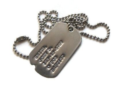 Real Notched Military Issue GI Dog Tag On Ball Chain Custom Personalized