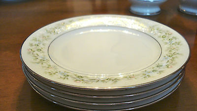 Noritake China 2031 Savannah 4 Dessert Plates Made in Japan Platinum Rims MINT