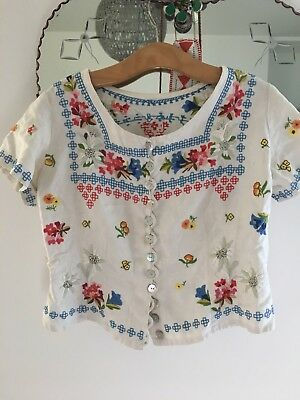 stunning hand embroidered vintage cotton blouse