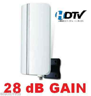 High Gain Digital Hdtv Uhf Vhf Indoor/outdoor Antenna + Coax Hd Tv +Amp Rv Boat