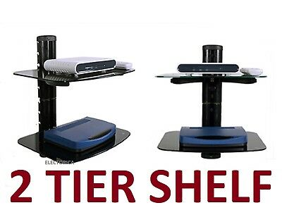 2 TIER SHELF For STB DVD Cable Box HD PS4 ATSC ANDROID TV WALL MOUNT BRACKET LED