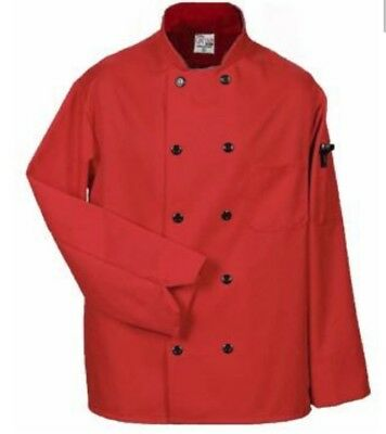 Image Solutions Professional Red 10 Button Double Breasted Chef Coat Jacket Med