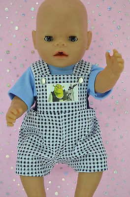 "Play n Wear Doll Clothes To Fit 17"" Baby Born PATTERN BIB DUNGAREE~T-SHIRT"
