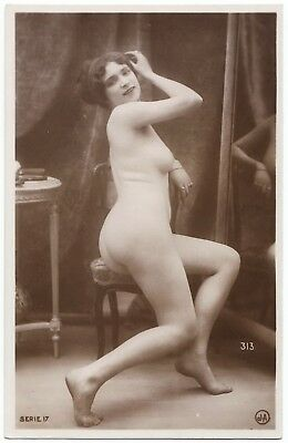 1910 Original French Real Photo PC Nude Voluptuous Girl Lingerie Jean Agelou