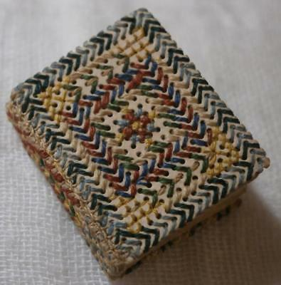 TINY VICTORIAN MINIATURE NOTE BOOK WITH EMBROIDERED BINDING 7/8ths INCH LONG