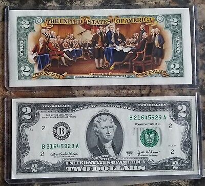 Two Color $2 Bill Signing Declaration of Independence
