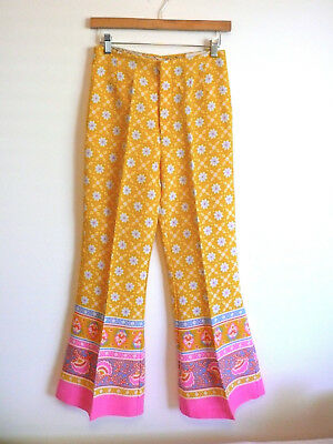 Vintage Yellow Flower Power Bell Bottoms 1960s Pants Cotton Linen Size Small 4