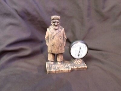 Vintage Cooper Co Pequbuck Conn Sea Captain Nautical Thermometer Syrocco Wood
