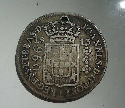 Brazil  - 1813 960 Reis Silver Crown - Holed but Nice
