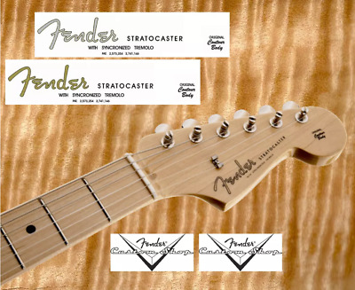 10 x Decalcomania Decal Fender Stratocaster Chitarra Guitar GoldGrey Serial N°