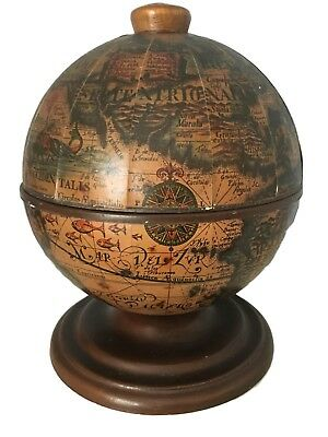Vintage Old World Globe Tabletop Bar with Mini Globe Ice Bucket - Made in Italy