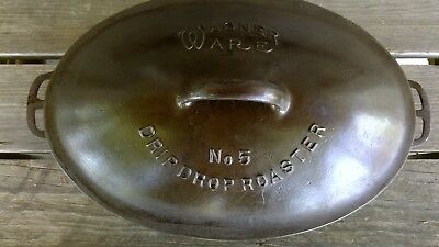Vintage Wagner Ware No 5 Cast Iron Drip Drop Oval Roaster Sidney O HTF