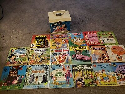 Vtg Disney Mickey Mouse Disco Record Tote With See Hear & Read Books 30 records