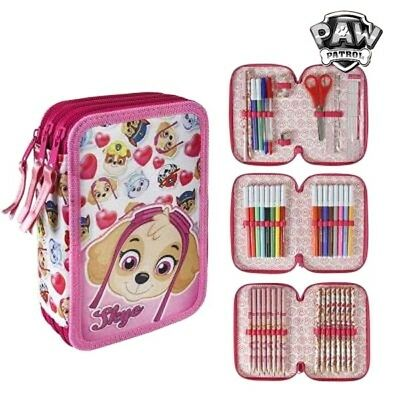 Pochette trousse à crayons 3 compartiments rose the Paw Patrol - Stylo, crayons