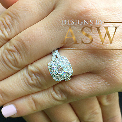 Huge 14K Solid White Gold Cushion Cut Simulated Diamond Engagement Ring 2.30Ctw