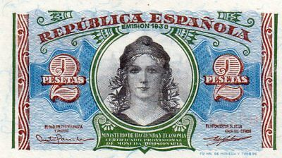 1938-Two Peso Banknote From Spaine in Crisp UNC