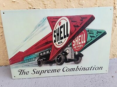 Shell Oil The Supreme Combination Metal Sign Raised Letters 13 By 8.5 Inches