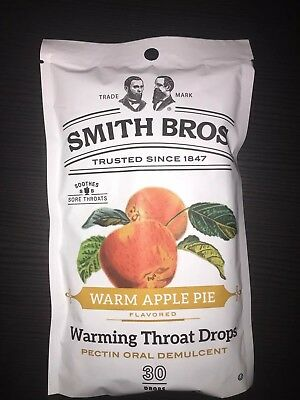 1 Bag Smith Bros Brothers Warm Apple Pie Cough Throat Drops 30 Count Exp 6/20