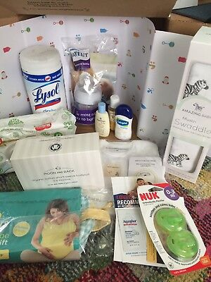 Baby Registry Samples Gifts Welcome Box Bag Pregnancy Mom Lot Pampers Avent NEW