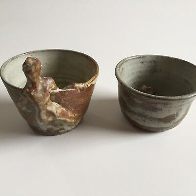 Pair of Vintage Art Pottery Tea Bowls Cups w/ Sculpted Figures Signed TT or Pi