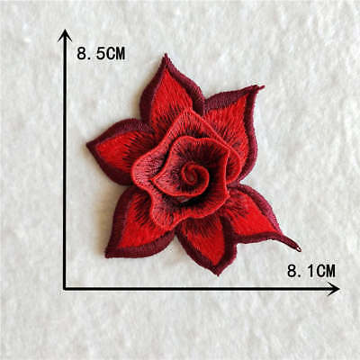 red rose flower decorate clothing neckline embroidery applique YL916