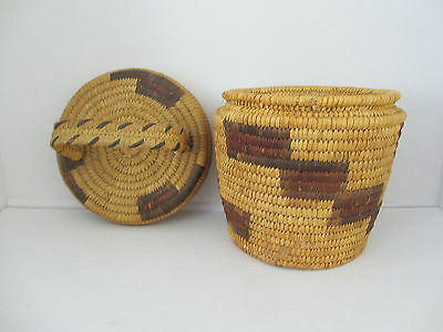 Antique Vintage Native American Indian Pima Papago Basket with Lid