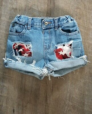 American Flag The Children's Place  Cut Off Jean Shorts size 5t Light wash