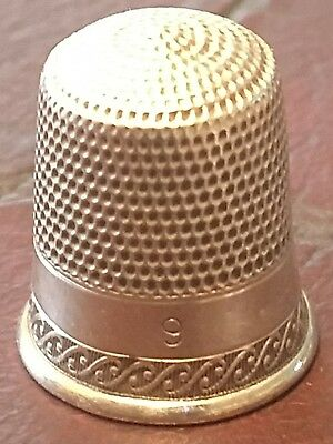Antique Simons Brothers Sterling Silver Thimble Nice Design Band  9""