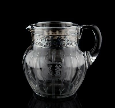 Rockwell Sterling Silver Overlay Engraved Art Glass Pitcher #225 Windmill Signed
