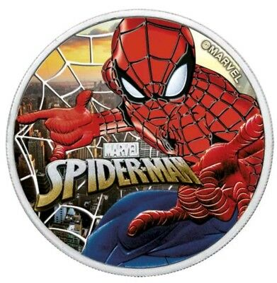 "2017 Tuvalu ""SPIDERMAN - SUNSET CITY"" Colorized 1oz .9999 Silver - Box and COA"